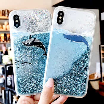 Cartoon Dolphin Quicksand Phone Case For iPhone X 8 7 6s Dynamic Glitter whale Fish scale Cases For iPhone 7 8Plus cute Flamingo iphone