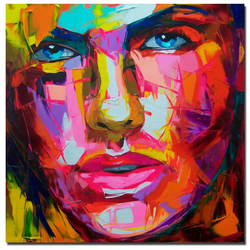 Palette knife painting Abstract Portrait Face Oil painting By Francoise Nielly Wall Art Paintings Pictures For Home Decor