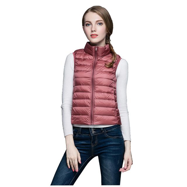 2016 Nuevo Otoño Invierno Mujeres Soporte de Cuello Ultraligero 90% de Pato Blanco Abajo Chaleco Chaleco Femenino Abrigo prendas de Vestir Exteriores de la Chaqueta