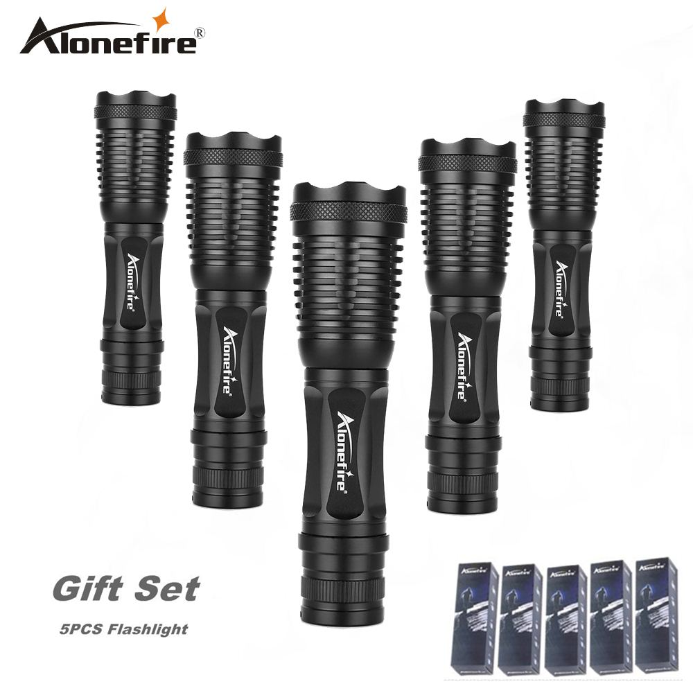 AloneFire E007 High Power XML T6 Zoomable Flashlight 18650 Rechargeable Battery Tactical Led Torch gift set 5pcs hot sale led downlights 7w 12w 15w round surface mounted ceiling lamps spot light white black ac85 265v pure nature warm white