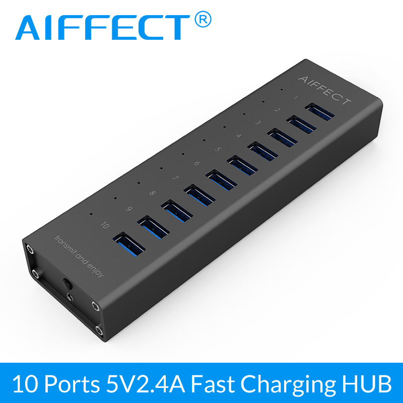 AIFFECT 10 Ports USB Charger Aluminum Phone Charger with USB3.0 HUB 5Gbps Splitter with 12V 2A Adapter