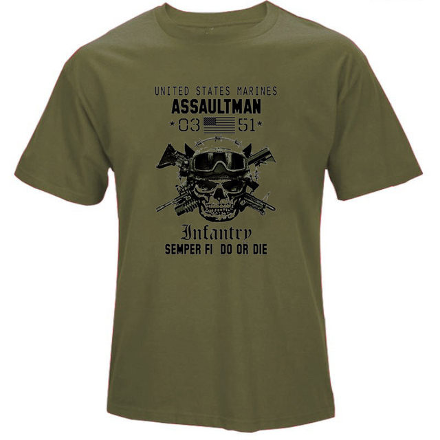 OKOUFEN US Marines Infantry Assaultman T shirt men MOS 0351 USMC - marines infantry assaultman