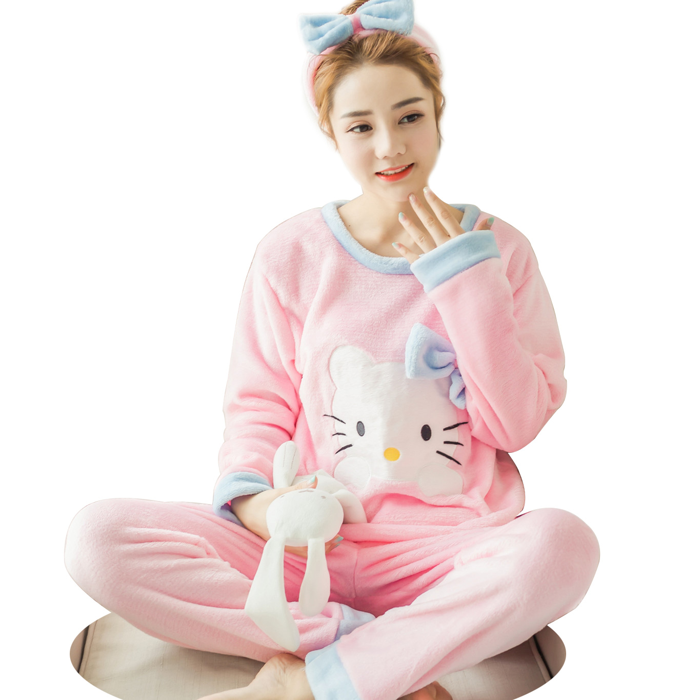 Women's Flannel   Pajamas   Autumn/Winter   Pajamas     Set   Women Long Sleeve Sleepwear Suit Warm CuteTops+Pants Sleep Home Female Pyjama