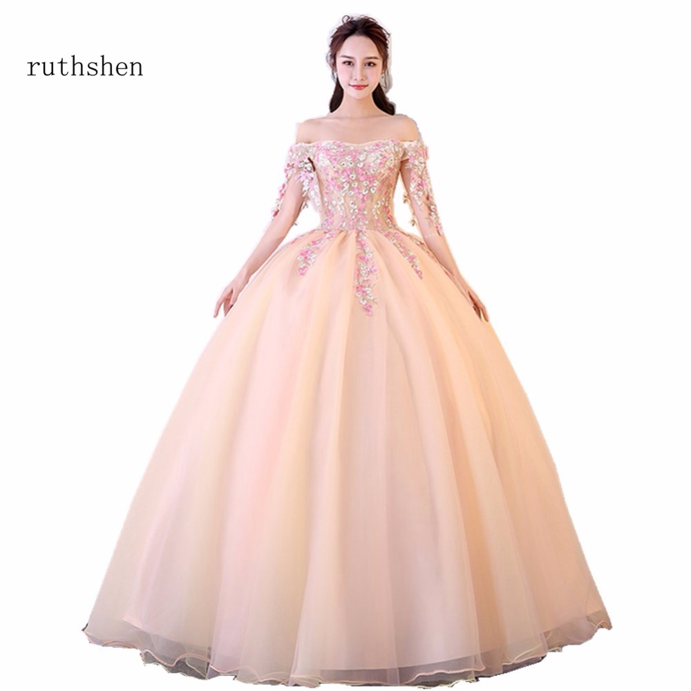 2018 New Arrivals Popin Off the Shoulder Appliques Flowers Decorated  Quinceanera Dresses Ball Gown Off The Shoulers Prom Dresses 536863b1990d