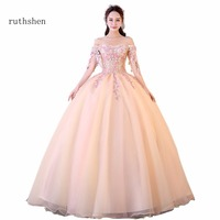 2018 New Arrivals Popin Off the Shoulder Appliques Flowers Decorated Quinceanera Dresses Ball Gown Off The Shoulers Prom Dresses