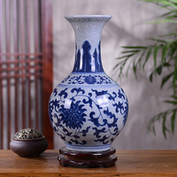 Jingdezhen Blue and White Porcelain Ceramic Vintage Tabletop Flower Vase Gourd Shape Furniture Crafts Decoration Christmas Gifts