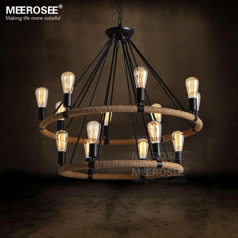 American Style Pendant Lighting Fixture 2 Rings Vintage Antique Suspension Lamp Edision E27 Bulbs Hanging Light
