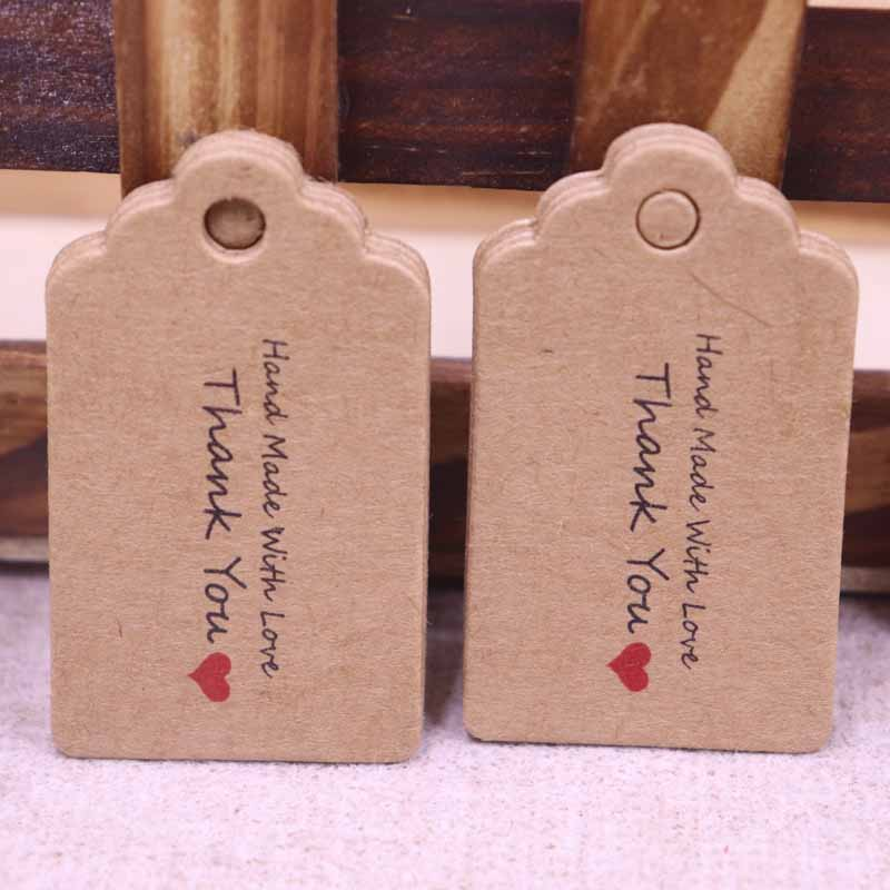 Thank You Note Wedding Gift: 100 Pcs 5x3 THANK YOU Kraft Paper Tag Head Label Festival