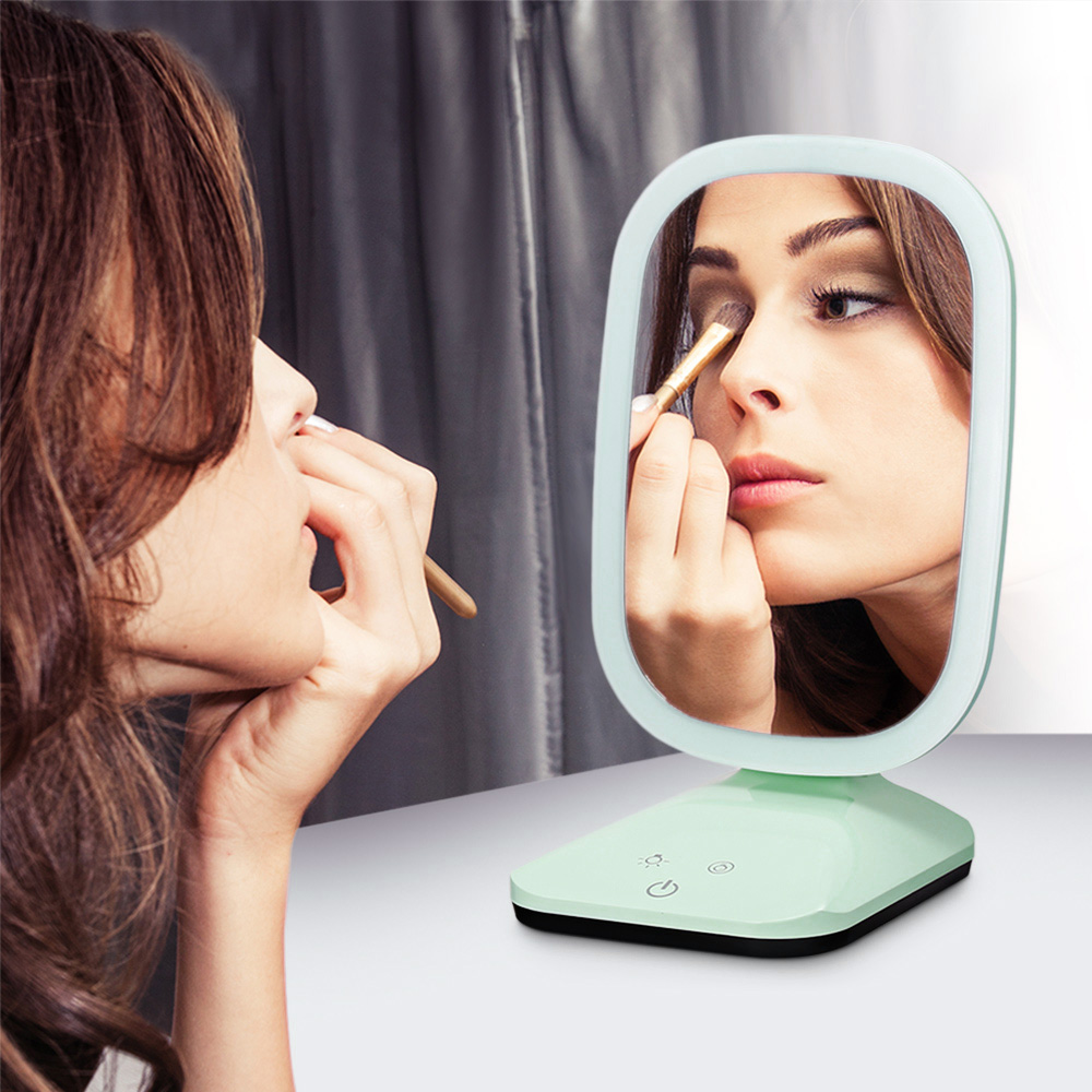 Makeup Mirror Vanity Beauty Adjustable Rotating Cosmetic Mirror LED Lights Touch Screen Control Green Makeup Accessories 2018 все цены