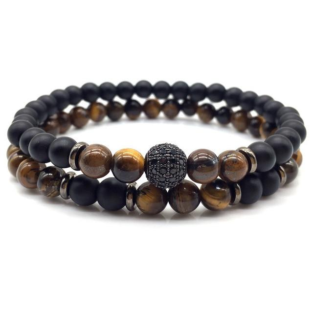 2018 New Fashion 2pcs/set Cz Ball Men Bracelet Charm 6mm Stone Beaded Bracelet Men Armband Jewelry Gift