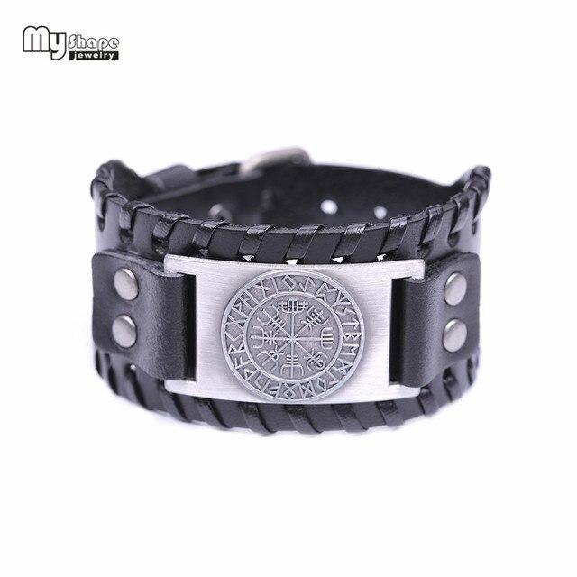 My Shape Viking Vegvisir Compass Bangles Nordic Runes Odin Symbol Wrap Genuine Leather Men Jewelry Accessories 4