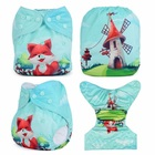 Ananbaby Baby Diapers Reusable Nappies Christmas Cartoon Design Print Newborn Cloth Diaper Washable Pocket Diaper Cover HA034