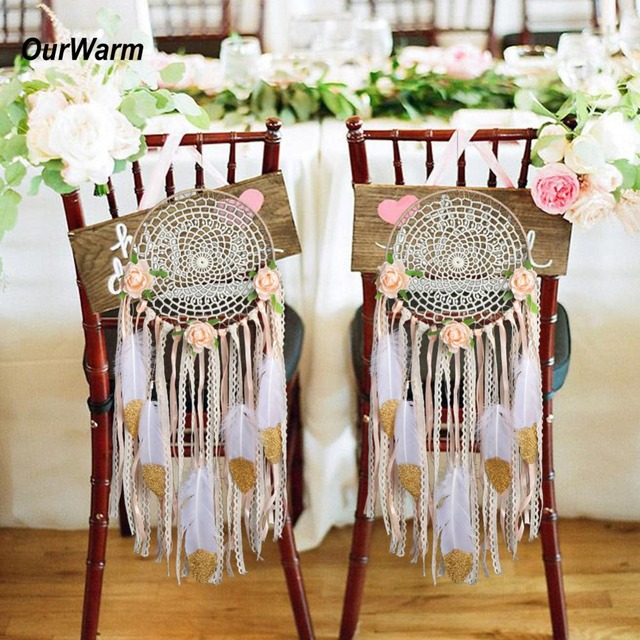 Ourwarm diy wedding decoration bride groom chair decor diy kit dream ourwarm diy wedding decoration bride groom chair decor diy kit dream catcher wedding chair decoration wall junglespirit Choice Image