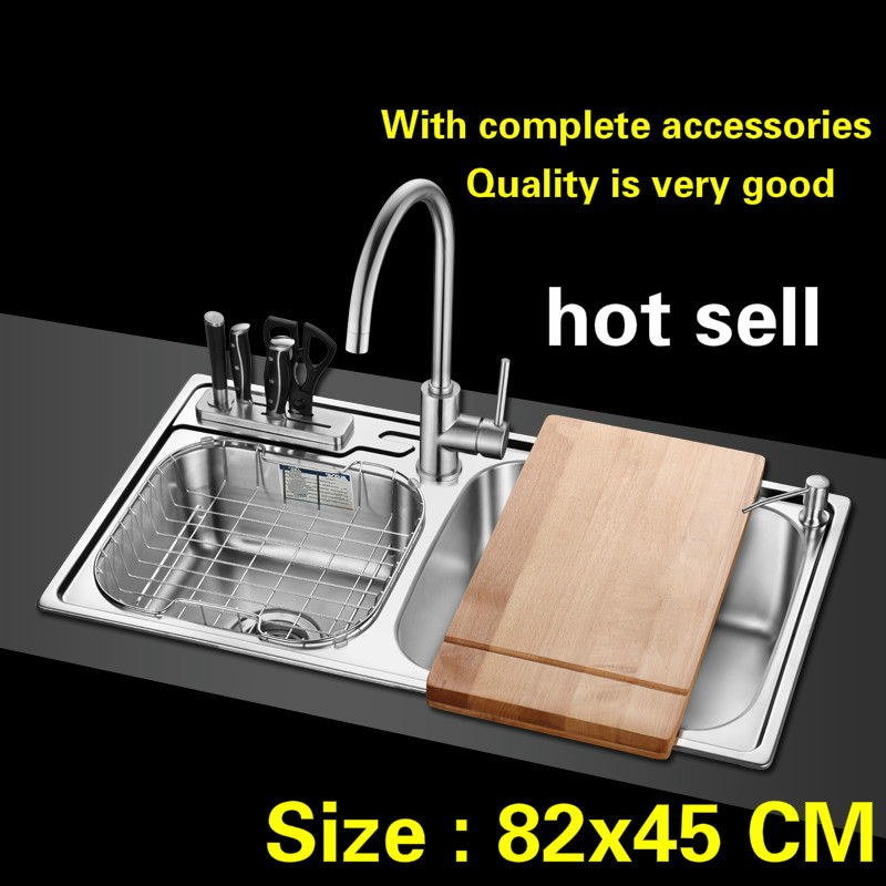 Free Shipping Hot Sell Big Kitchen Sink 1 Mm Thick Food Grade 304 Stainless Steel Standard Double Groove 82x45 CM