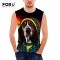 Forudesigns mens tank tops culturismo delgado camisas de los hombres divertidos 3d animal perro hombre chaleco regatas masculina o cuello camisa
