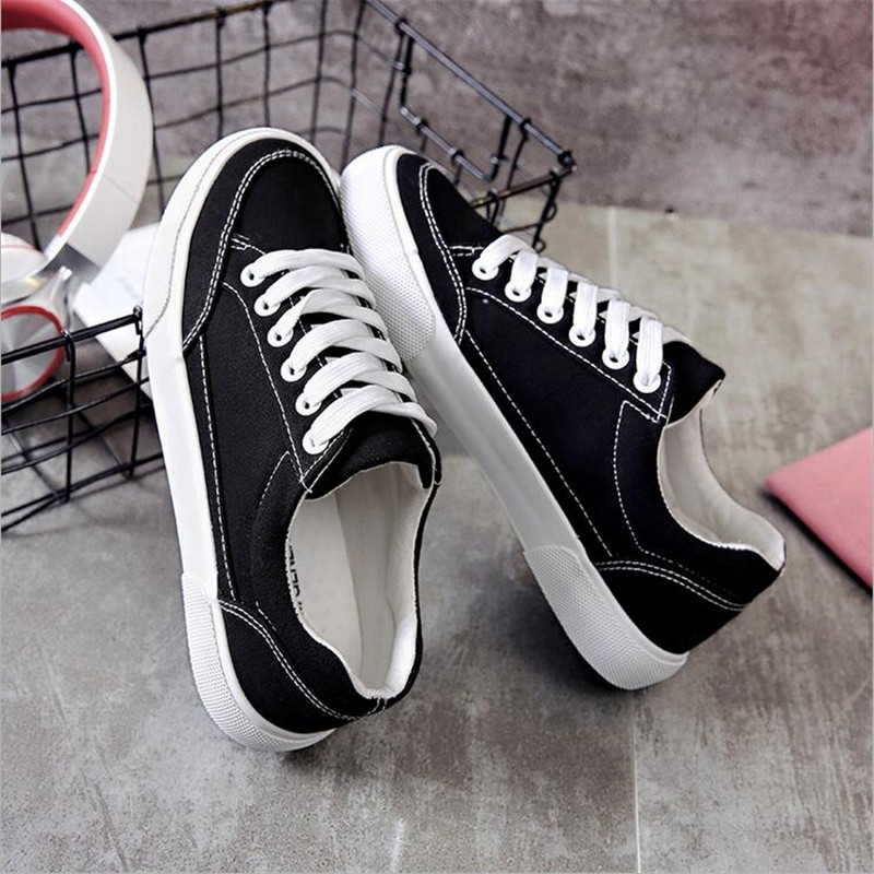 Women sneakers 2018 new arrivals fashion lace-up black/white women shoes solid sewing shallow casual canvas shoes women XA3326