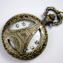 Buy Korean Version of The Retro Pocket Watch Creative Classical Engraving Hollow Large Flip Iron Tower Pocket Watch fallout directly from merchant!