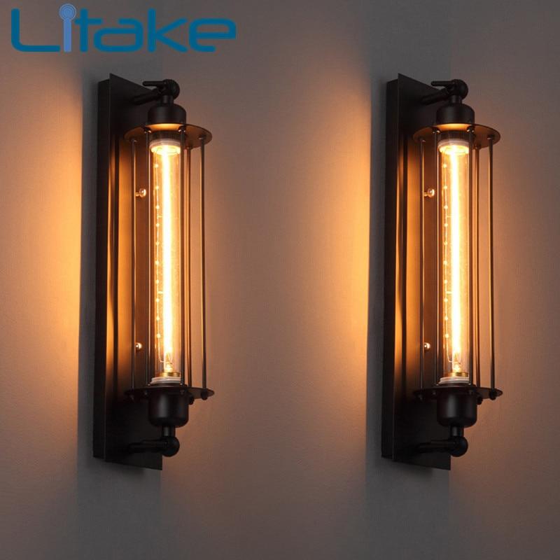 Litake Loft Vintage Wall Lamps American Industrial Wall Light Edison Light E27 Bedside Wall Fixtures Home Decoration Lighting