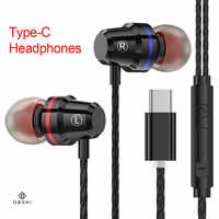 Type-c In-ear Earphones Wired Control Stereo Bass Sound Earbuds Metal Sport Gaming Headset with Mic for Xiaomi Huawei Letv