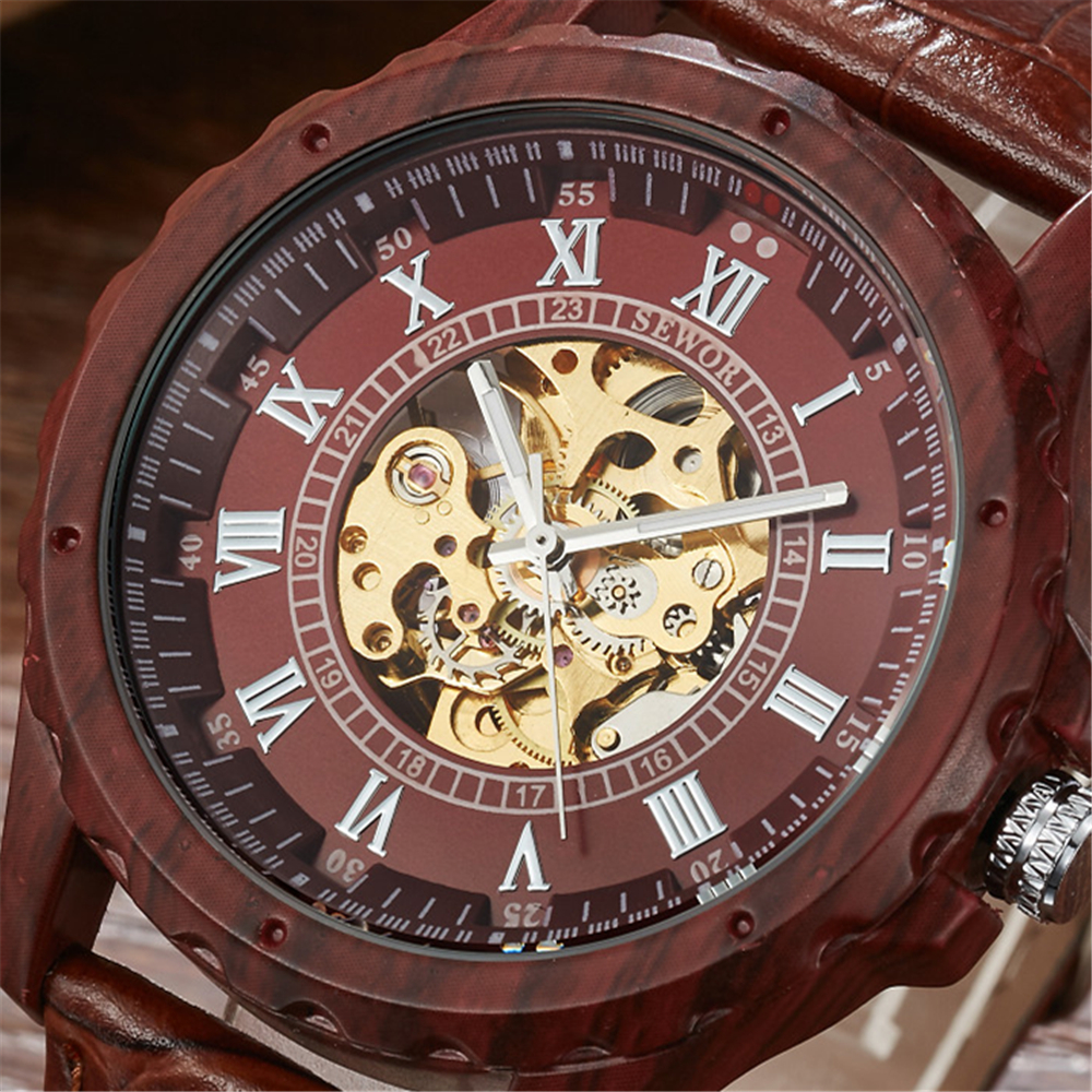 2017 Fashion SEWOR Men Luxury Roman Number Wood Colours Leather Skeleton Military Watch Automatic Mechanical Wristwatches Gift winner men luxury roman number skeleton gold stainless steel watch automatic mechanical wristwatches gift box relogio releges