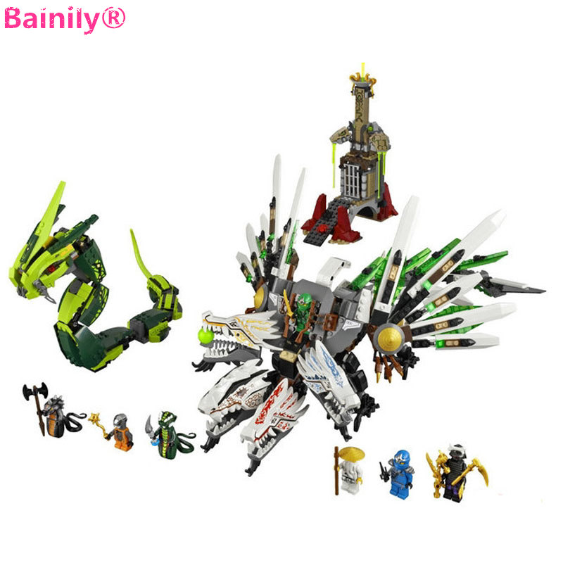 911pcs Ninjago Building Blocks Figure Epic Dragon Battle Model Toys Gifts For Children Compatible With LegoINGly NinjagoINGlys bela 911pcs ninjagoes epic dragon battle building block set jay zx chokun minifigures kids toy compatible with legoes 9450
