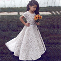 Lovely Little Girls Party Dresses Short Sleeve 2017 Crew Neckline A Line Lace Kids Flower Girls Dresses for Wedding HT94