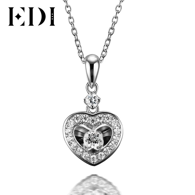 все цены на EDI Heart Real Moissanite Diamond Wedding Pendants For Women Soild 14K 585 White Gold Pendant 16' Necklace Chain Fine Jewelry онлайн