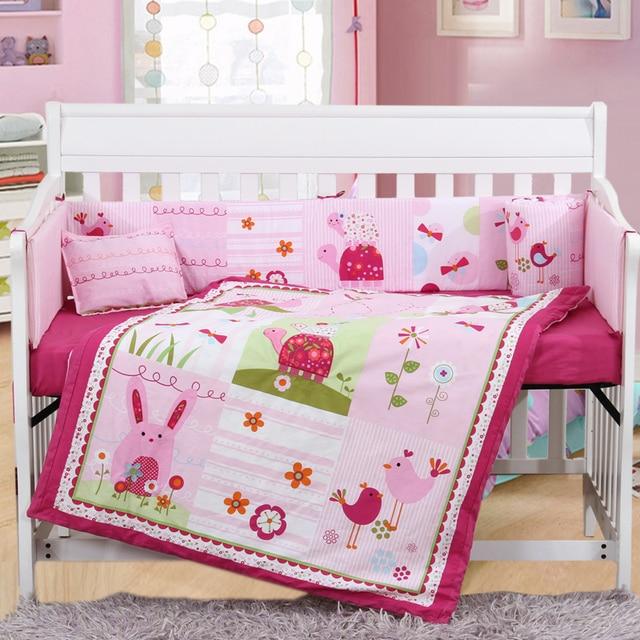 4PCS Embroidery cot baby set cot bedding set cotton baby cot sets baby bed bumper,include(bumper+duvet+sheet+pillow)