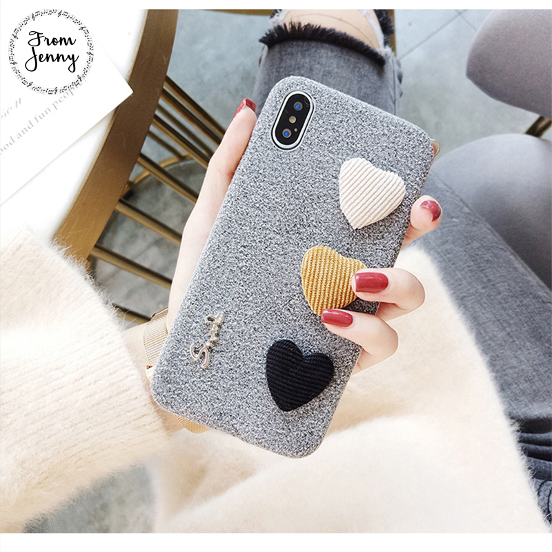 From Jenny cute 3D Love Heart Phone Case for ipone X 8 8plus Fashion Fabric Soft Case for iphone 7 7plus 6 / 6S Plus Back Cover