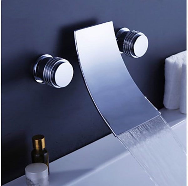 Chrome Finish Waterfall Widespread Contemporary Bathtub Faucet Wall Mounted Tap