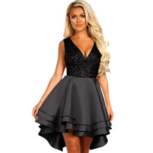 New party dress sequins sexy V-neck A-line dress sleeveless high waist short before long glitter dress strapless back dress plus crisscross v back glitter dot dress