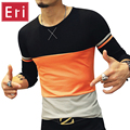 Brand T-Shirt Men 2017 New Fashion Striped Patchwork O-Neck Long Sleeve T Shirts Mens Slim Fit T-Shirt Plus Size M-5XL X363