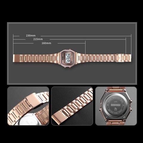 SKMEI Women Watches Drill Diamond Sport Watch Digital Alarm Stainless Steel Luxury Ladies reloj inteligente mujer Women Watches Multan