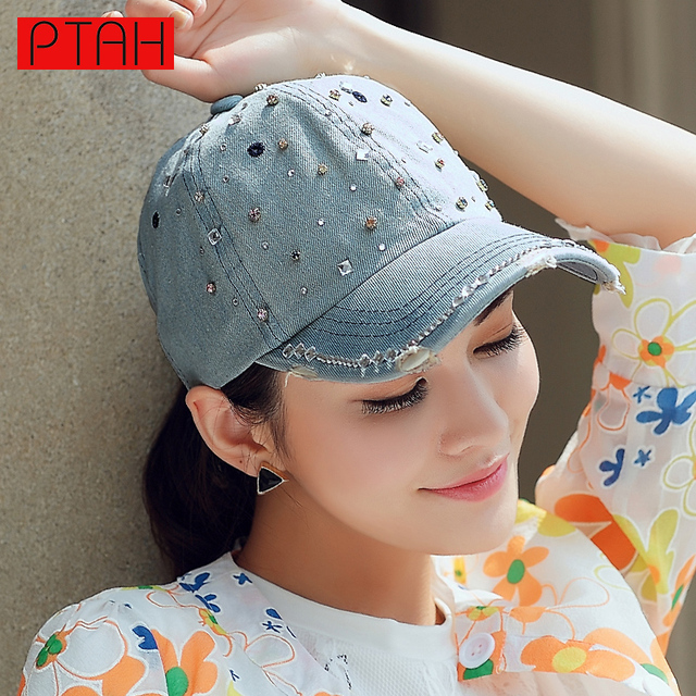 Ptah denim ponto de diamante embutidos chapéus para as mulheres snapback bonés de beisebol hip hop gorras casquette ajustável feminino verão 4162