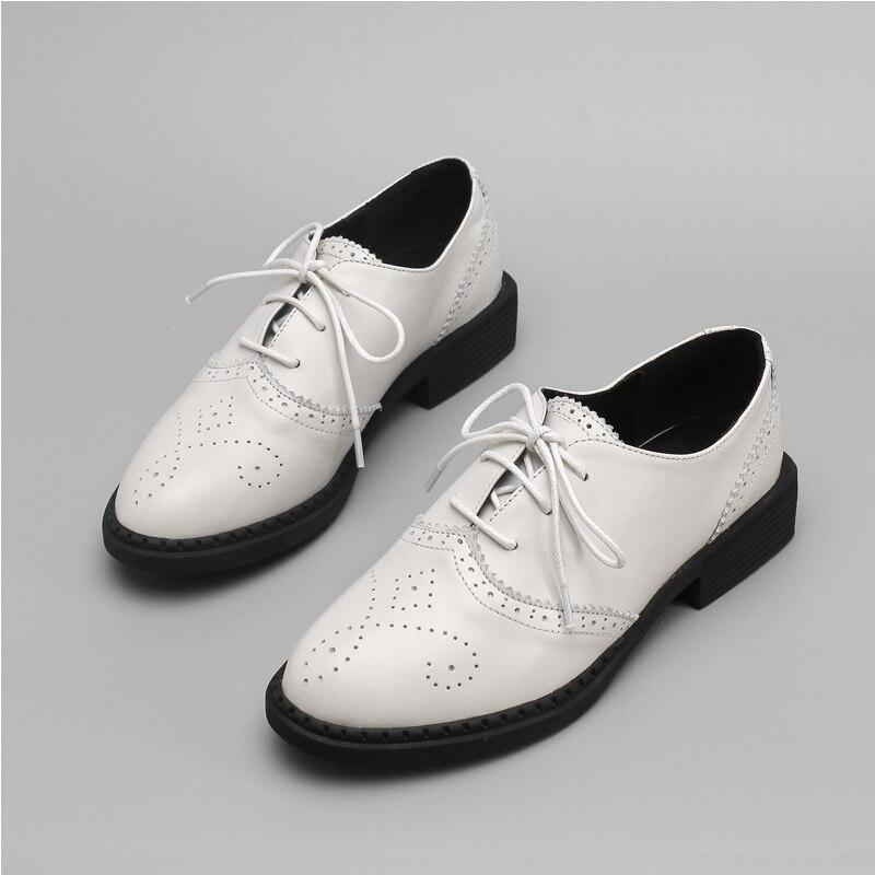 Nueva Sarairis Elegante Codbwrxe Las Zapatos Cuero Ins Genuino La Blanco N0P8nOwXk