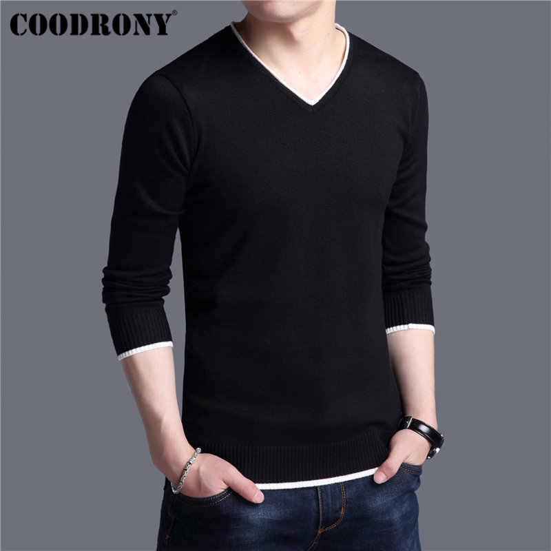 Coodrony mens 스웨터 2019 봄 가을 캐시미어면 스웨터 남성 니트 셔츠 pull homme 캐주얼 v 넥 풀오버 남성 91012