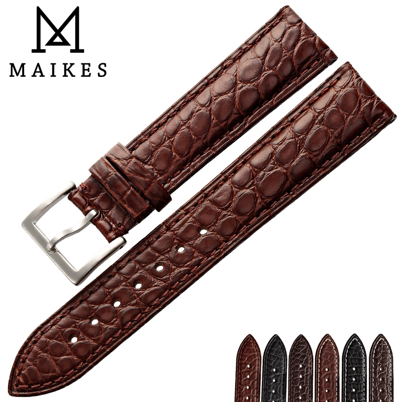 MAIKES High Quality Watch Accessories Women Thin Watchbands 16 18 19 20 22 mm Genuine Leather Watch Strap For Brand Watch Band maikes hq 16 18 20 22 24 mm genuine alligator leather strap watch band brown with pin buckle men watchbands bracelet accessories