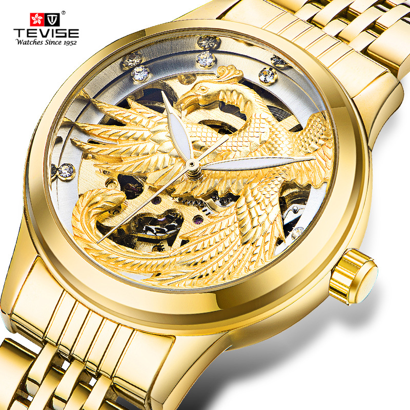 Hot Women's Fashion Watches Luxury Brand Gold Watches Women Full Stainless Steel Clock 3D Golden Eagle Dial Wrist Watch Hours chenxi golden new clock gold fashion women watch full gold stainless steel quartz watches wholesale women gold watch pengnatate