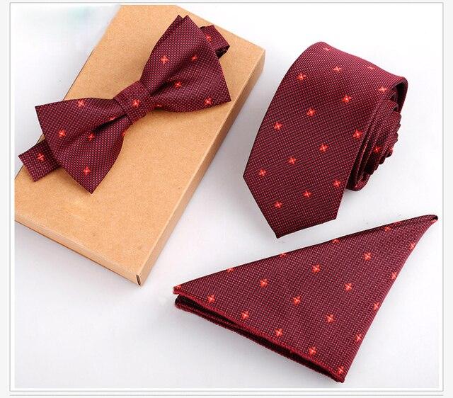 3PCS Slim Tie Set – Tie, Bow Tie and Handkerchief