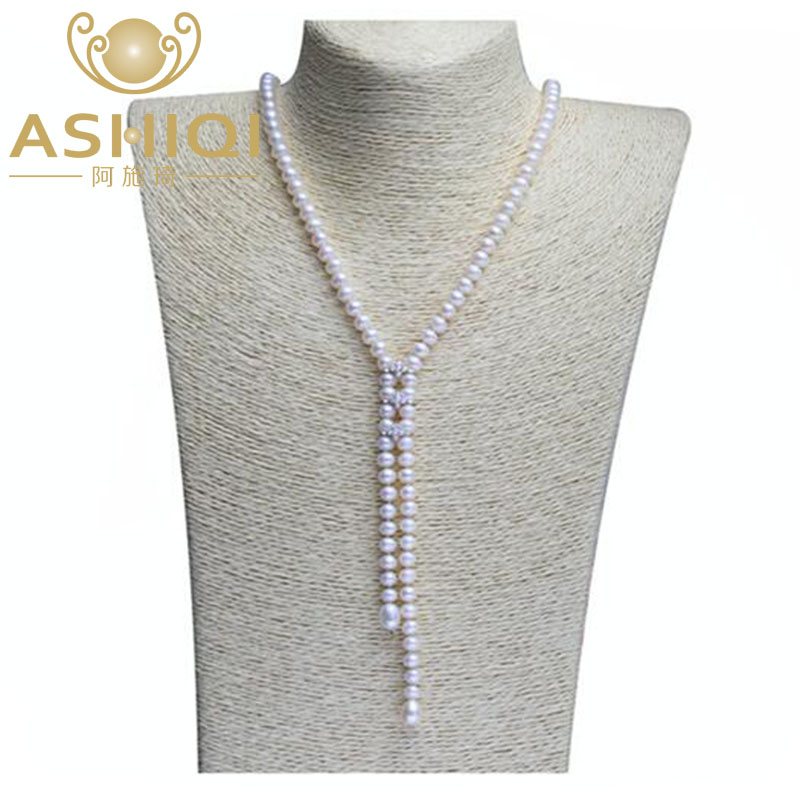 ASHIQI 90CM Real Natural Freshwater Long Pearl choker Necklace Sweater chain Jewellery for women gift