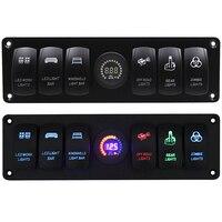 6 Gang Rocker Switch Panel Circuit Breaker LED Voltmeter RV Car Marine Boat