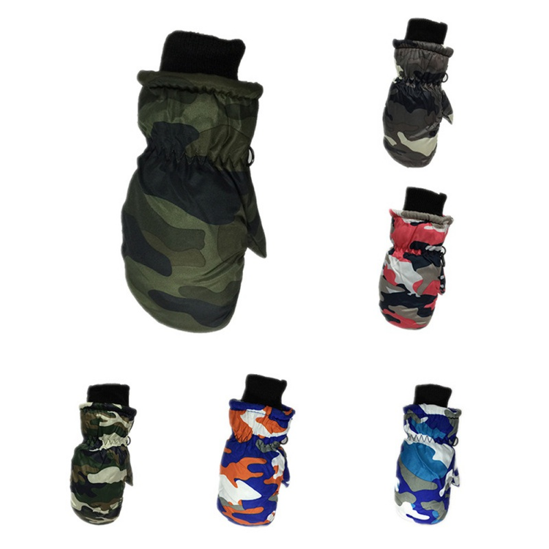 1 Pair Children\'s Camouflage Thick Warm Ski Gloves Windproof Winter Cute Waterproof Outdoor Ski Gloves