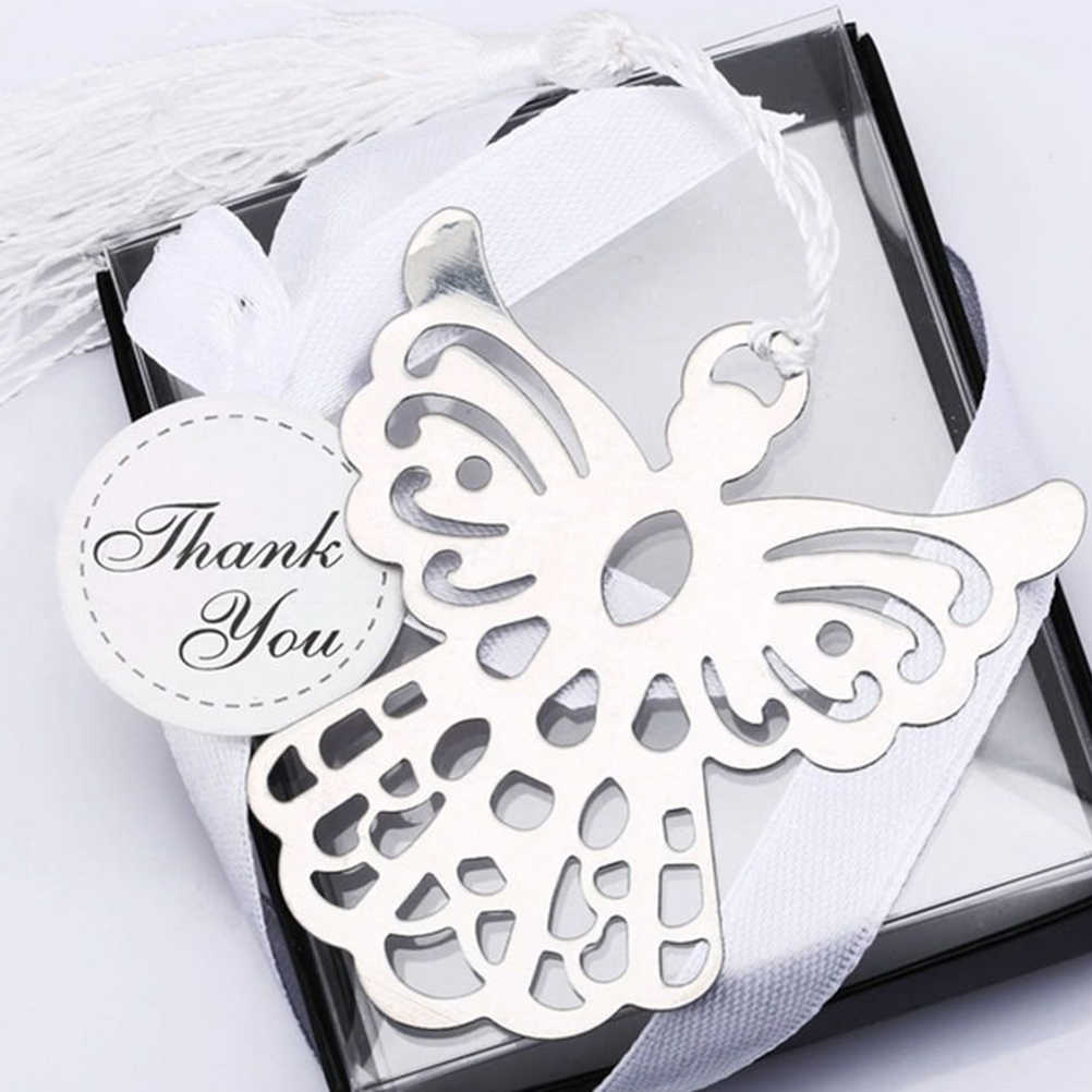 Holy Guardian Angel Alloy Bookmark Pendants Tassels Stationary Christening Wedding Favor Gift (color: Silver)