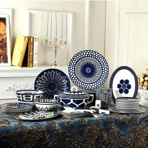 Tableware-Set Dish-Bowl-Set Blue-Bowl Chinese-Bone-China Household Luxury Western European