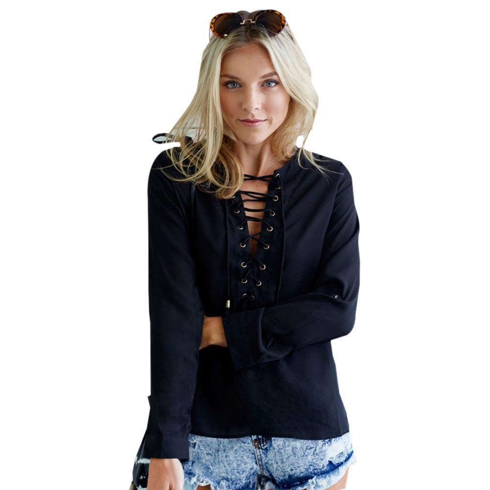 Aliexpresscom  Buy Lace Up Black Blouse White Button Top -7284