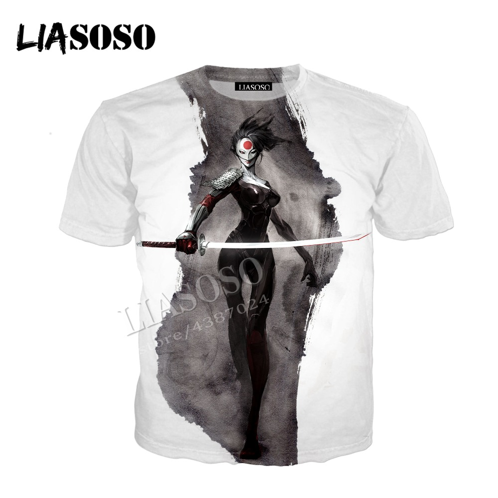LIASOSO latest 3D printing comfort polyester Japan anime katana warrior mask zipper hooded shirt men and women sportswear CX468