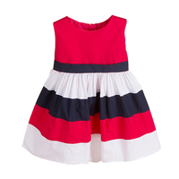 2 6T Girls Summer O Neck Dress Sleeveless Bow Cartoon Striped Princess Casual Dresses 2018 Kids