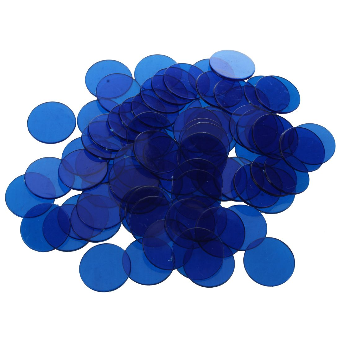 New Approx.100Pcs 3/4 Inch Plastic Bingo Chips, Translucent Design, for Classroom and Carnival Bingo Games Blue