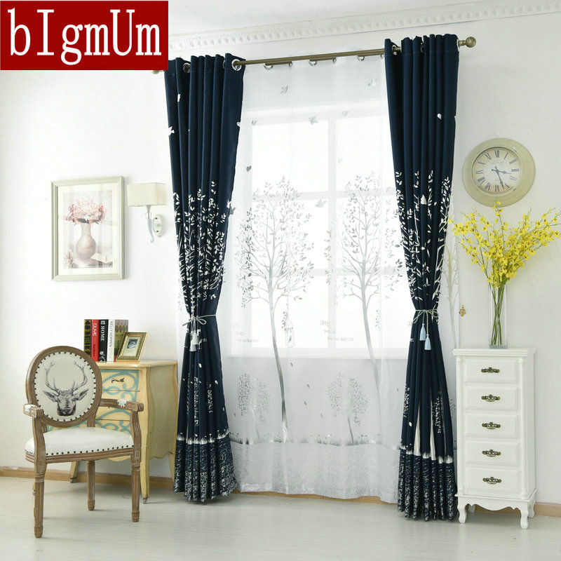 Navy Blackout Curtain Ecofriendly For Childrens Bedroom Silvery Tree Printed Drape Kids WindowTreatment Matched White Tulle In Curtains From Home