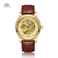 SEWOR Hollow Engraving Skeleton Casual Designer Black Golden Case Gear Bezel Watches Men Luxury Brand Automatic